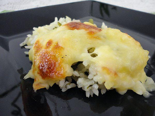 Escondidinho de arroz com espinafre